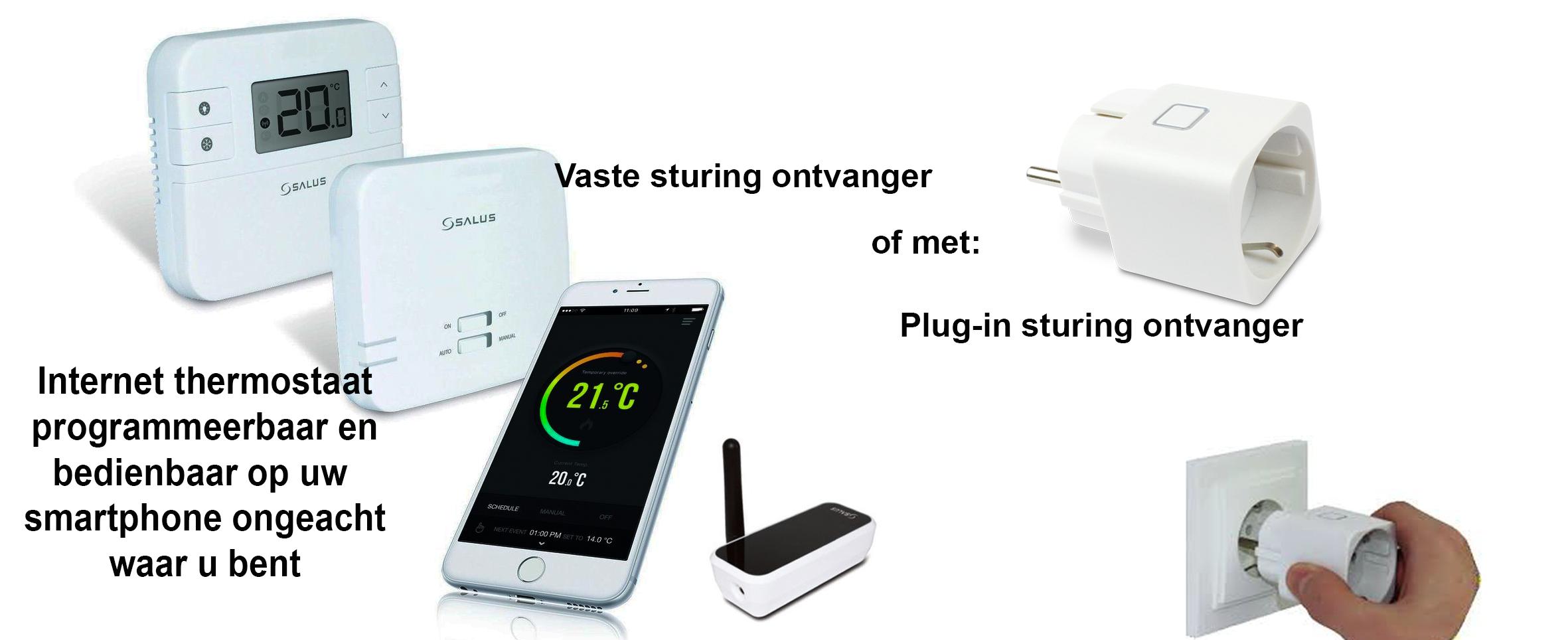 Internet thermostaat met plug-in en vast